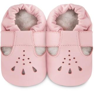 【shooshoos】安全無毒真皮健康手工學步鞋/嬰兒鞋/室內鞋/室內保暖鞋_粉橘茉莉_101027(公司貨)