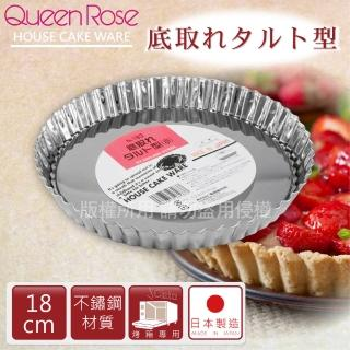 【日本霜鳥QueenRose】18cm活動式菊型不鏽鋼派盤(日本製)