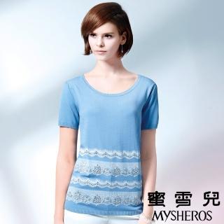 【蜜雪兒mysheros】圓領燙印蕾絲針織上衣(水藍)