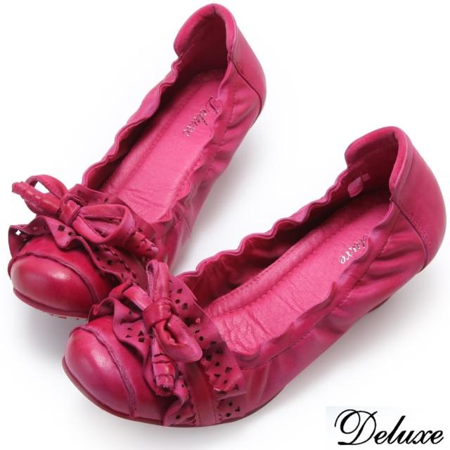 【Deluxe】全真皮質感簍空波浪蝴蝶跟鞋(桃)
