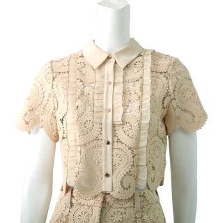 【SELF-PORTRAIT】蕾絲襯衫領短袖上衣(膚色)