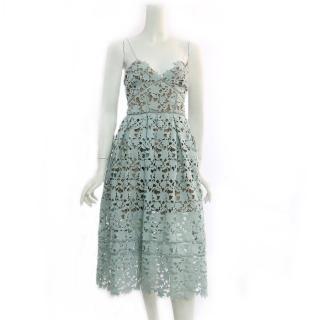 【SELF-PORTRAIT】細肩帶蕾絲洋裝(薄荷綠)