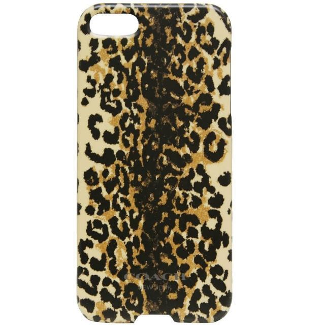 【COACH】豹紋圖騰I Phone 5手機保護殼-卡其(附原廠盒裝)