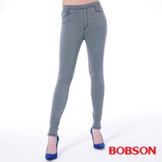 【BOBSON】女款中腰強彈力鬆緊帶緊身褲(灰8135-87)