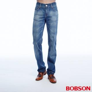 【BOBSON】男款貓鬚刷白直筒褲(藍1785-53)