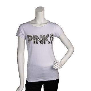 【PINKO】經典亮片繡縫LOGO短袖T shirt(S-白色11D02J bianco brill)