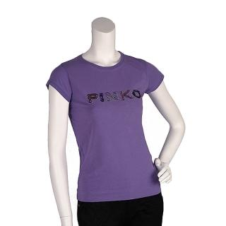 【PINKO】經典亮片水鑽繡縫LOGO短袖T shirt(S-丁香紫11D0AM foschina viol)