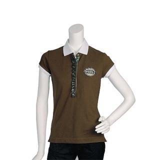 【PINKO】亮片水鑽混搭裝飾短袖POLO衫(咖啡11D05G pigna)