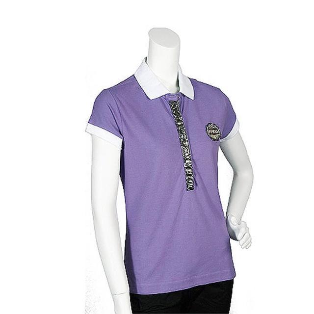 【PINKO】亮片水鑽混搭裝飾短袖POLO衫(丁香紫11D05G foschina viol)優質推薦