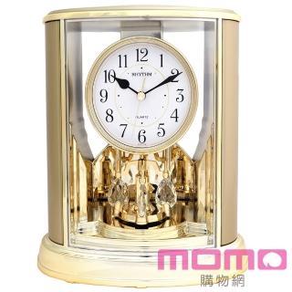 【RHYTHM日本麗聲】典雅水晶旋轉擺錘裝飾藝術座鐘(典雅香檳金)