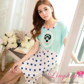 【lingling日系】PA2863全尺碼-點點娃娃貼布不規則擺短袖連身裙睡衣(清新藍綠)