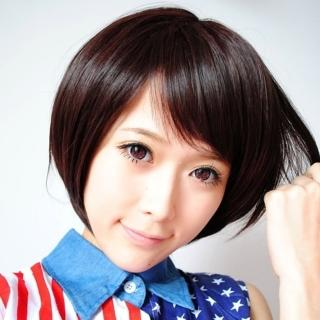【米蘭精品】女假髮整頂短假髮(清新時尚斜瀏海自然逼真女美髮用品4色68x41)