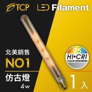 【美國TCP】LED Filament復刻版鎢絲燈泡_T30 4W(6入)