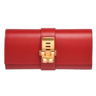 【HERMES】Medor Sanguine CDC皮革金色鉚釘穿式手拿包(火焰紅H056204CC-53-ROUGE)