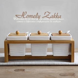 【Homely Zakka】美味食光波紋白瓷竹蓋調味料三罐組(波紋方款)