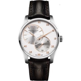 【Hamilton】漢米爾頓 JAZZMASTER 分秒必爭時尚機械腕錶-銀x咖啡/42mm(H42615553)