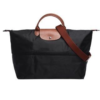 【LONGCHAMP】經典LE PLIAGE系列延展夾層旅行袋(黑色1911089-001)