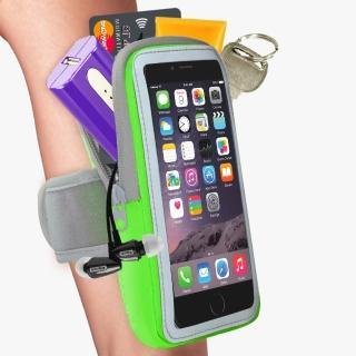 【活力揚邑】防水透氣排汗反光跑步自行車手機觸控雙層運動臂包臂套臂袋(5.7吋以下通用-蘋果綠色)