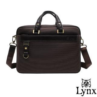 【Lynx】山貓經典極簡風格手提牛皮商務公事包(共2色)