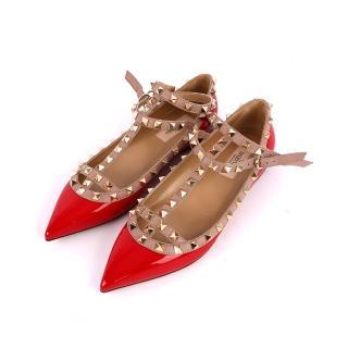 【VALENTINO】牛皮尖頭二環ROCKSTUDS平底鞋(莓紅色)