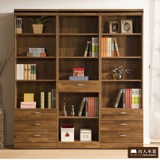 【直人木業】BRAC層木二個3抽一個1抽180CM書櫃
