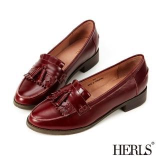 【HERLS】全真皮復古流蘇樂福鞋(酒紅色)