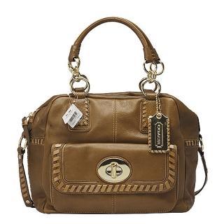 【COACH】磁釦口袋真皮編織飾邊二用保齡球包(展示品-焦糖色 15994-GD-EL)