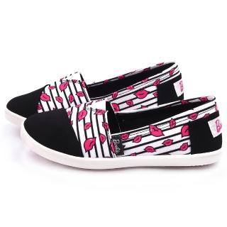 【童鞋城堡】Barbie芭比 女款 俏皮紅脣帆布休閒鞋(BR7815-黑)
