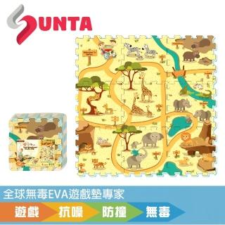 【SUNTA拼接樂扣墊】動物樂園-無毒EVA遊戲墊-32*32*1cm 9片裝(地墊/爬行墊/遊戲區/滿月/送禮)