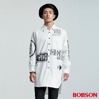 【BOBSON】男款長型寬版印圖襯衫(白35048-80)