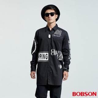 【BOBSON】男款長型寬版印圖襯衫(黑35048-88)