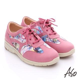 【A.S.O】紓壓耐走 全牛皮拼接山水畫奈米休閒鞋(桃粉紅)