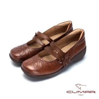 CUMAR舒適嚴選 舒適真皮厚底娃娃鞋-黑