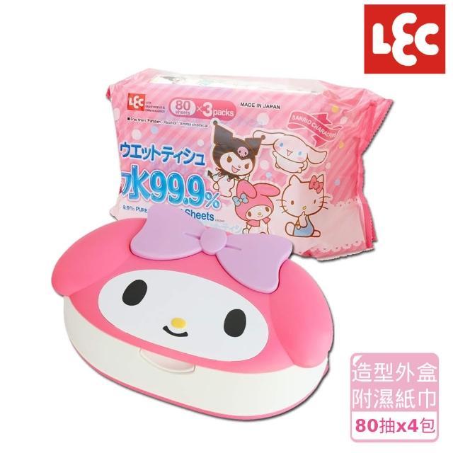 【日本LEC】Melody純水濕紙巾便利5件組(造型外盒+80抽x4包)/