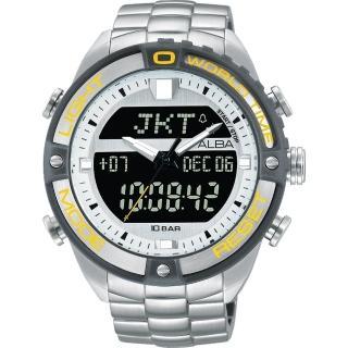 【ALBA】雅柏 W兩個世界雙顯腕錶-銀灰圈/44mm(N021-X003Y  AZ4019X1)