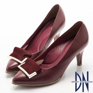 【DN】高貴優雅  柔軟羊漆皮金屬飾扣尖頭跟鞋(紅)