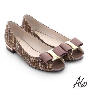 【A.S.O】注目嬌點 格紋金屬織帶魚口跟鞋(深卡其)