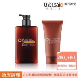 【thetsaio機植之丘】升級版-頭皮保養保濕組(快樂鼠尾草潔淨液+頭皮去角質)