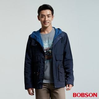 【BOBSON】男款刷毛連帽外套(藍36036-53)
