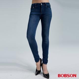 【BOBSON】女款中腰大彈力窄管褲(藍8152-53)