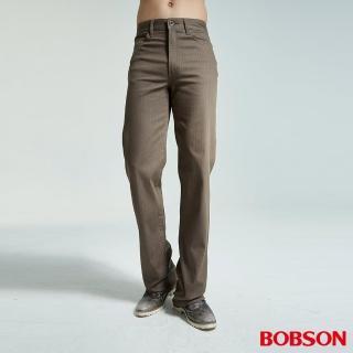 【BOBSON】男款人字斜紋伸縮直筒褲(咖1694-72)