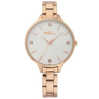 【ViVi Fleurs】優雅凝情不鏽鋼時尚腕錶(玫瑰金x白/33mm)