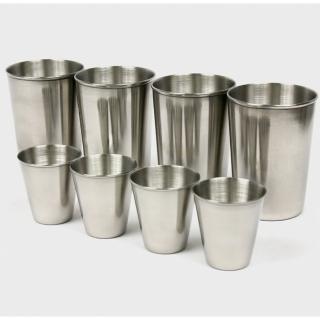 【DIBOTE迪伯特】攜帶式不鏽鋼杯 環保杯 8入組(小杯+大杯)