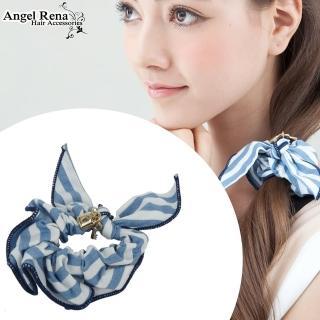 【Angel Rena】兔耳朵鑰匙條紋髮束(淺藍白)