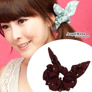 【Angel Rena】首爾時尚夯˙兔耳朵髮束(棗紅星星金)