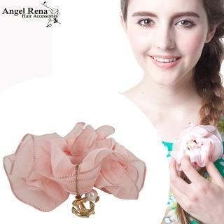 【Angel Rena】雪紡海錨珍珠垂墜髮束(淡粉)