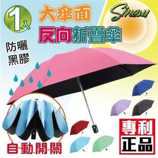 【sinew】台灣專利★黑膠抗UV無敵防曬 防風大傘面 自動反向傘-平柄輕巧款(車用 三折疊摺疊傘 晴雨傘)