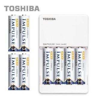 【日本製TOSHIBA】IMPULSE高容量低自放電充電組(2450mAh 3號8入+充電器)