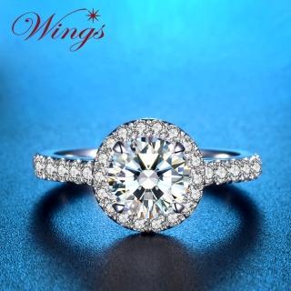 【WINGS】燦星 經典環鑽時尚款 八心八箭精鍍白金戒指 聖誕(女戒 鋯鑽 擬真鑽 單鑽)