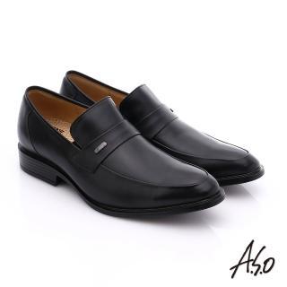 【A.S.O】挺力氣墊 小牛皮直套式奈米氣墊皮鞋(黑)